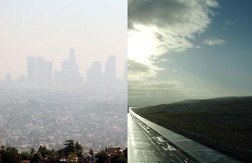 Smog in Los Angeles (left) contrasts with blue skies near Cheyenne, Wyo. Photo by <a href='http://www.flickr.com/photos/texas_hillsurfer/1464681581/'>Texas Hillsurfer -- WW Tribe Wanderer</a> and <a href='http://www.flickr.com/photos/infinitewilderness/261718673/'> Infinite Wilderness</a>