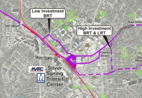 Rails or wheels? The Purple Line will run from Bethesda to New Carollton. Map by the Maryland Transit Administration.