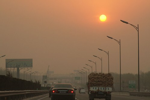 A gloomy sunset on Beijing's 5th Ring Road. Photo by Lim CK.