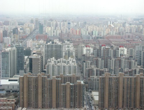 Facing south from the Park Hyatt's 65th floor China Bar in Beijing. Photo by James Fallows.