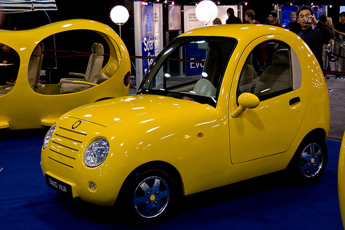 """Chinese car designer Tang Hua unveiled this peculiar electric concept car, named """"Detroit Fish,"""" at the North American International Auto Show in 2008. Flickr photo by GmanViz."""