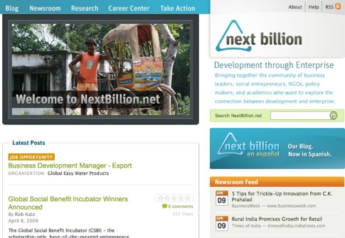 """NextBillion's new Web site includes new interactive features to explore business innovations for the """"base of the pyramid."""""""