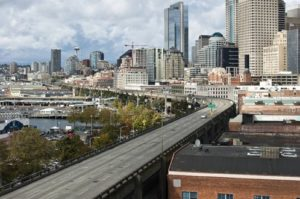 An (almost) empty Seattle Viaduct. People in the Northwest have been using less gas -- and driving less -- over the past 10 years. Photo by Slightlynorth.