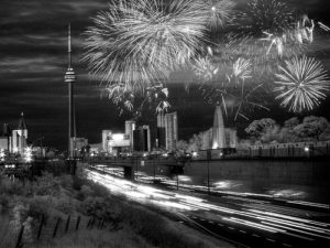 Traffic under Torontos Victoria Day Fireworks. Photo by Lone Primate.