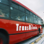 A Transmilenio bus rolls smoothly into Bogota. Photo by adrimcm.