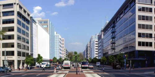 A rendering from DDOT's K Street Transitway Final Report.