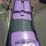 Purple Streetcar in York England. Photo by Carlos62.