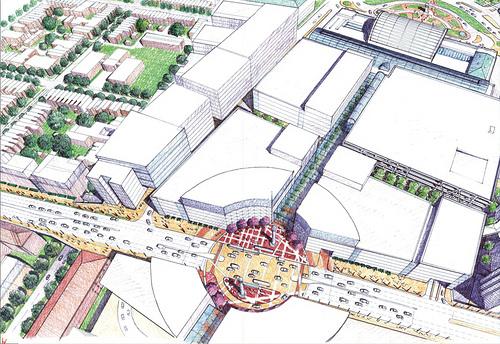 "Concept plan for Hop Scotch (H Street) Bridge behind Union Station. From DDOT's 2003 ""H Street, NE/Benning Road, NE, Framework Plan"""