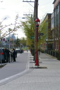 One way cycle track in Vancouver similar to WABA's proposed amended K Street Proposal. Flickr photo from Rob__.