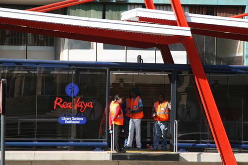A brand new Rea Vaya bus station in Johannesburg, South Africa. Photo by Maneno.org.