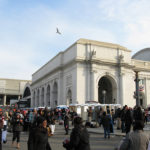 Crowd outside of west approach to Union Station. Flickr photo from thisisbossi.