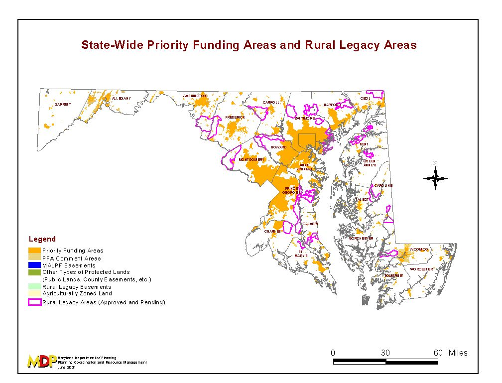 Statewide PFAs in orange. Image courtesty of Maryland Department of Planning.