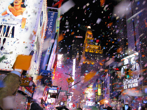 New Year's Eve attracts thousands to Times Square in New York City, where Mayor Bloomberg and the Department of Transportaiton has made great strides in making the city more sustainable. Photo by Undeleterious.