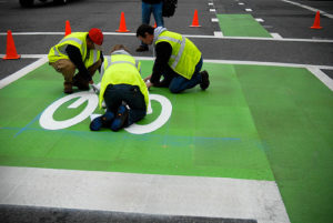 All you need is paint and permission to make roads safer for bicyclists  Photo by bikeportland.org