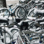 A cluster of bikes at American University in northwest DC. Photo by Amberley Johanna.