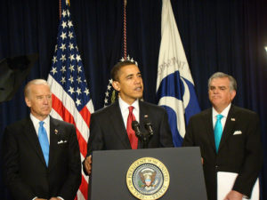In April 2009, Obama announced his plans for a national high-speed rail master plan. Photo by Center for Neighborhood Technology.
