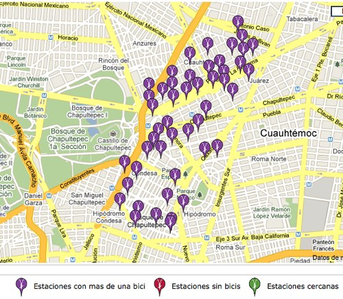 Ecobici's bike map shows the location of bike stations in operation and available bicycles.