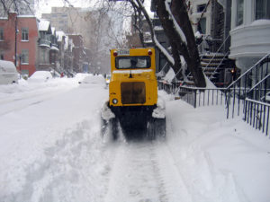 Does your snowy city pay adequate attention to the needs of pedestrians and transit users when the white stuff is falling?  Montreal uses mini-plows, above, to clear sidewalks.  Photo: sfllaw, Flickr.