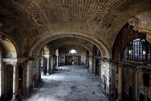 Detroit is emblematic of American transportation history, with all its ups and downs (shown here is its abandoned but impressive Michigan Central Station). Can the city become a model for transportation innovation and urban revitalization? Photo by Яick Harris on Flickr.