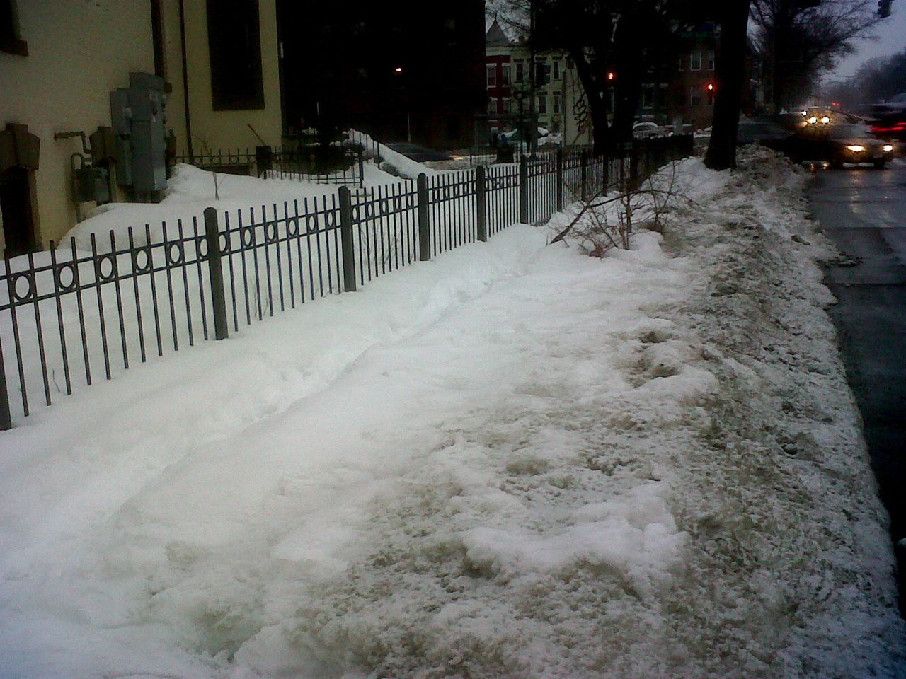 Bus stop for 80 route at North Capitol and Rhode Island, still unshoveled and unsafe for pedestrians. Photo by Allison Bishins.