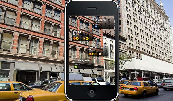 Acrossair's New York Nearest Subway app uses augmented reality to overlay subway location information onto images viewed through your smartphone camera.  Photo courtesy of Business Week.