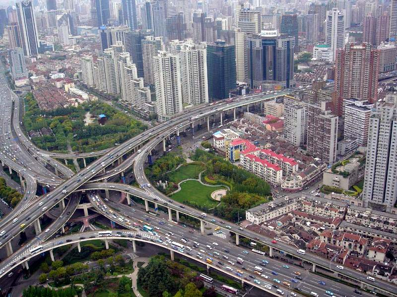 Shanghai's Puxi Viaduct, one of the largest and busiest interchanges in the world. Photo via Waze.com.