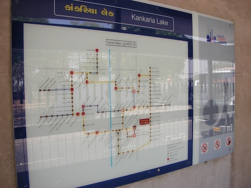 Janmarg system's map includes multiple languages. Photo by Prajna Rao.