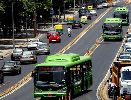 A new study shows that buses in designated lanes, like these in Delhi, can carry more people using less road space.  Photo: jenspie3.