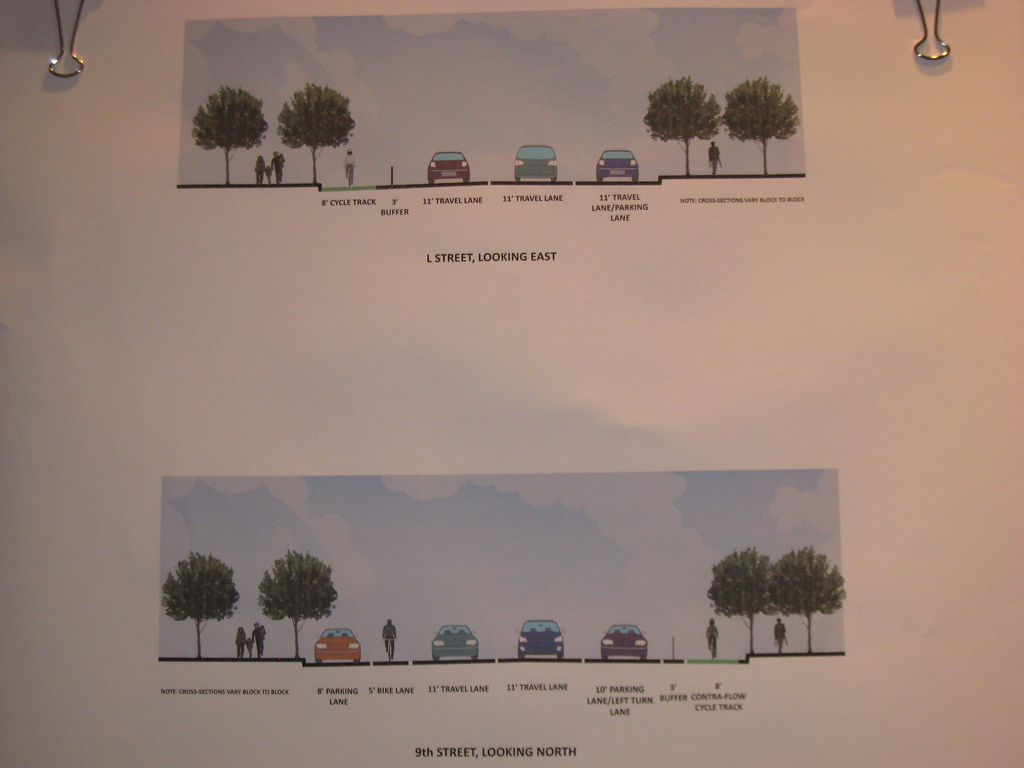 Renderings of proposed bike lanes on L and 9th Streets. Photo: TheCityFix.