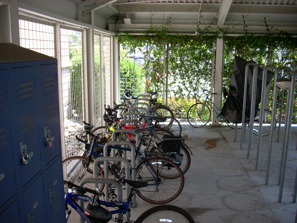 More DC offices should jump on the Bicycle Friendly Business bandwagon, providing cycling amenities like this secure bike parking area. Photo: richardmasoner.