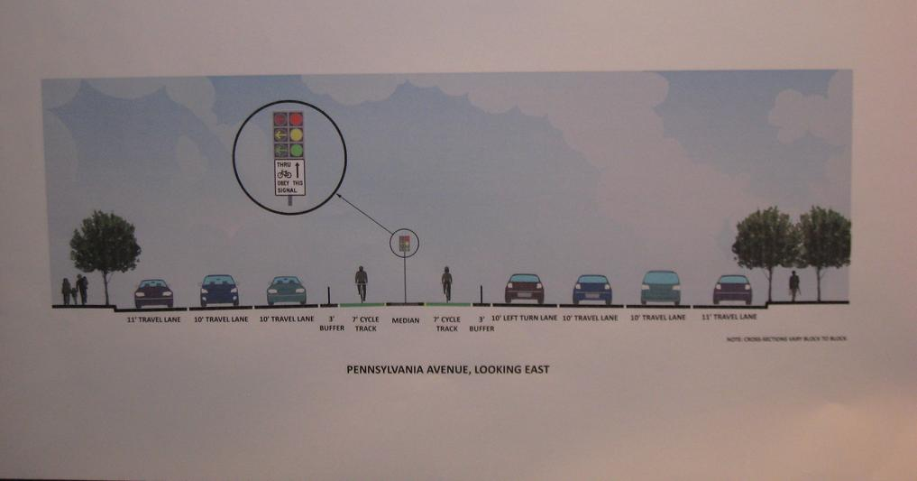 DDOT's proposed bike lane on Pennsylvania Ave would run along the street's currently unused median. Photo: TheCityFix.