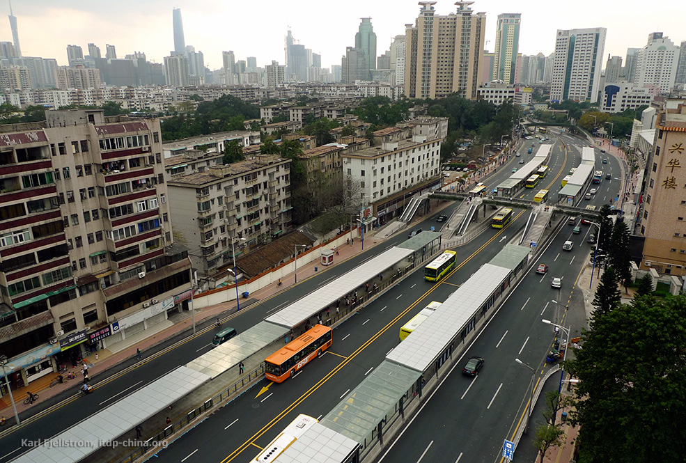 The recently-launched Guangzhou BRT is expected to change public perception about bus-based travel around the world.  Photo: Karl Fjellstrom, ITDP.