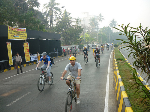 Cyclists enjoy the city's first Car Free Day. Photo by Madhav  Pai.