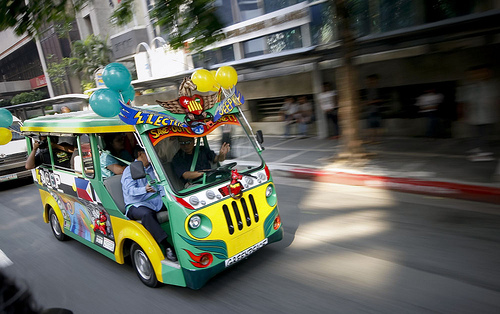 "Electronic ""jeepneys"" (public mini-buses) are getting more popular in the Philippines. Photo by Greenpeace Southeast Asia."
