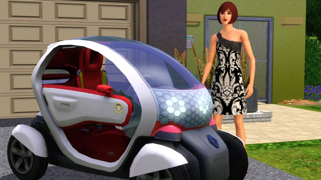 The Sims can now drive electric vehicles. Photo via Joystiq.