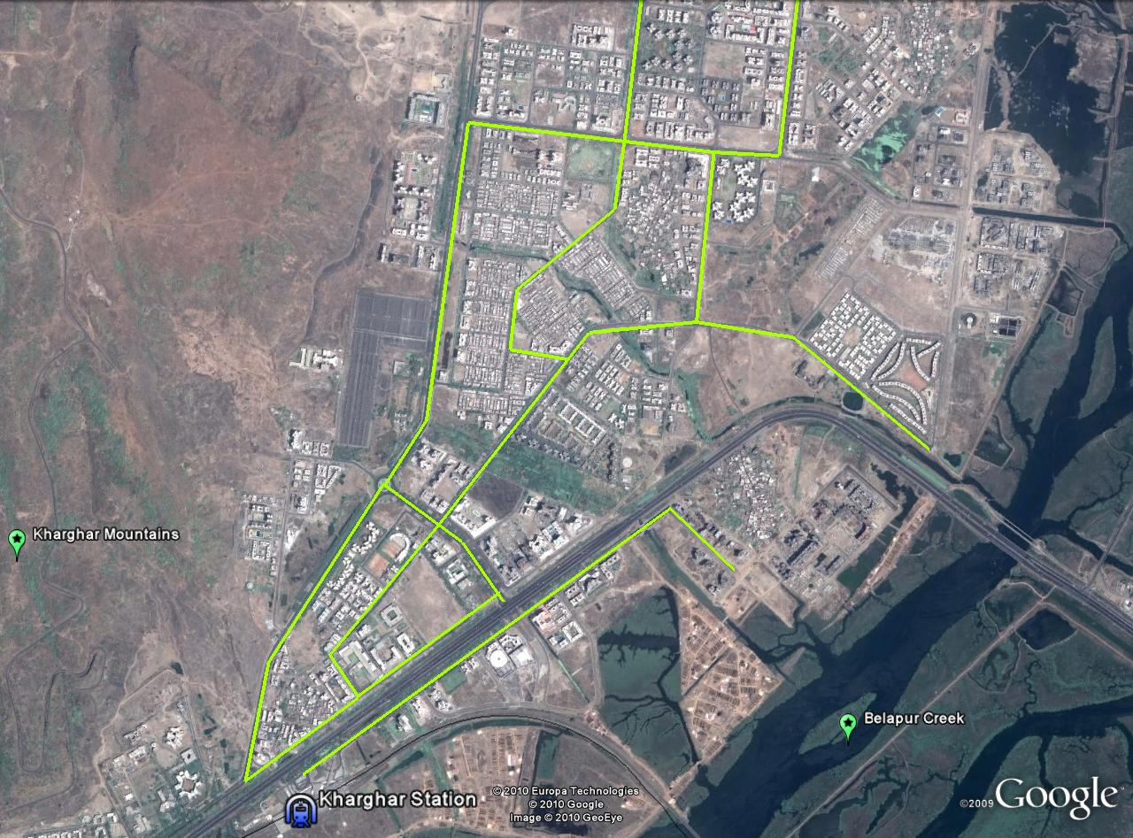 A proposal for cycle lanes in Kharghar. Image via Google Earth.