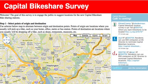 An interactive Capital Bikeshare Survey will get input from D.C. residents on where the bikestations should be located.
