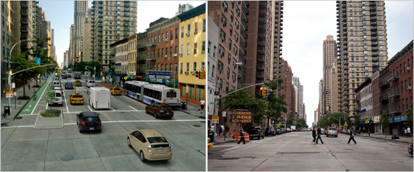 Left: What 1st Ave will look like with bus-only lanes; Right: 1st Ave