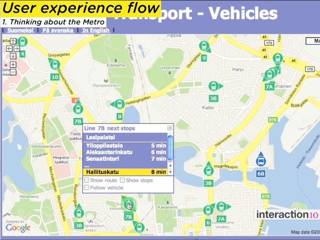 Helsinki transit and Google Maps mash-up. Screenshot via Interaction Design Association on Vimeo.