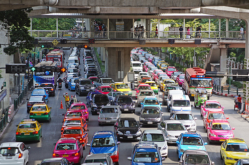 Bangkok traffic is colorful but nasty. Planners hope the BRT - which will opened its first route on May 30 - will ease congestion in the city. Image via UweBKK (α 550 on ).