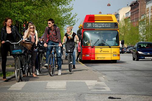 Bike and bus lanes make Copenhagen more livable. Photo via Spacing Magazine.