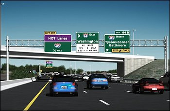 Simulation of VA HOT lanes in 2013. Photo via the Washington Post.