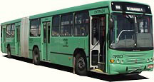 Curitiba's green line includes regular and articulated green buses, linking outlying neighborhoods and terminals without passing through the center of the city. Image via Government of Curitiba.