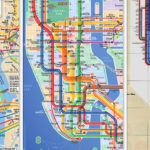 L-R: A comparison of the current (1998) map, the Kick Map, and the 1972 Vignelli map. Image via Kickmap.com