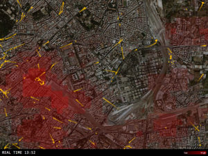 How do the movement patterns of buses and pedestrians overlap in the Stazione Termini neighborhood of Rome? Image via Senseable City Lab.