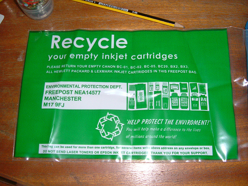 You may get frustrated with your printer cartridge, but don't trash it! Image via Jon Newman.