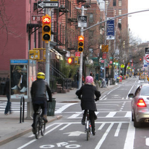 Wide bike lines, like this one 9th Avenue in New York, make non-motorized transportation safer. Photo via K_Gradinger.
