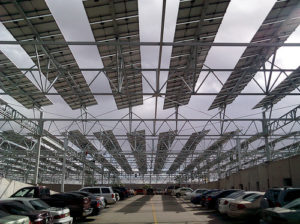 Parking lots have much potential to be principal areas for harvesting the sun's solar rays. Photo by Kevin Dooley