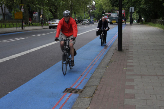 """The first two of twelve """"bike superhighways"""" were officially launched in London today. Photo via Inhabitat."""