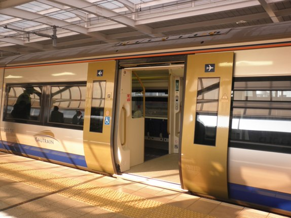Gautrain, Gauteng province's new high speed train, carries passengers from Sandton to OR Tambo International Airport at top speed of 160km/hr. Photo by Aileen Carrigan.